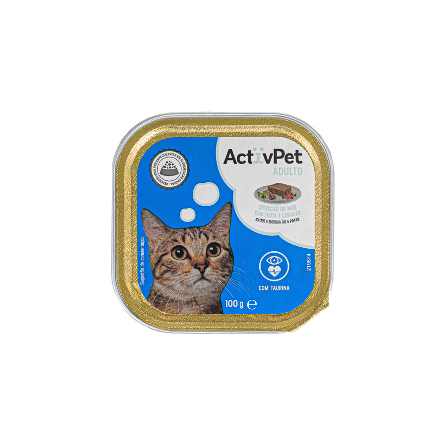 Alimento Humido Gato Pate Truta Camarão Activpet100G