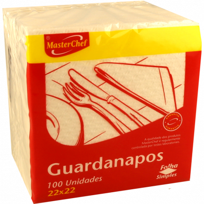 GUARDANAPOS FOLHA SIMPLES MASTERCHEF 22X 22 CM 100 UNIDADES
