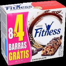 BARRAS CEREAIS CHOCOLATE FITNESS 8UNIDAD ES + 4 GRÁTIS