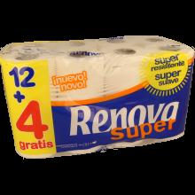 PAPEL HIGIÉNICO FOLHA DUPLA RENOVA SUPER BRANCO 12 + 4 ROLOS